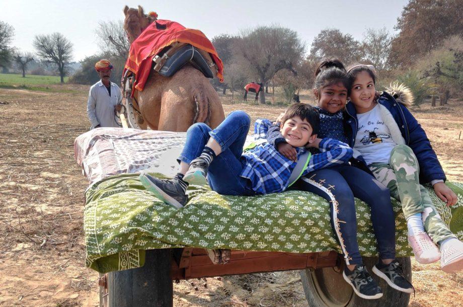 Enfants sur une charrette tirée par un dromadaire