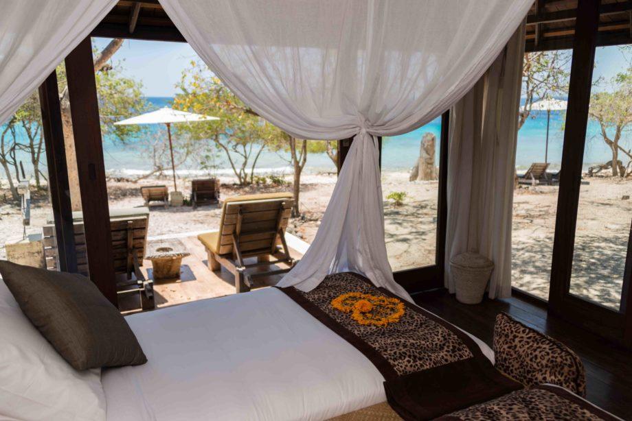 Chambre avec vue sur la plage et la mer à Bali