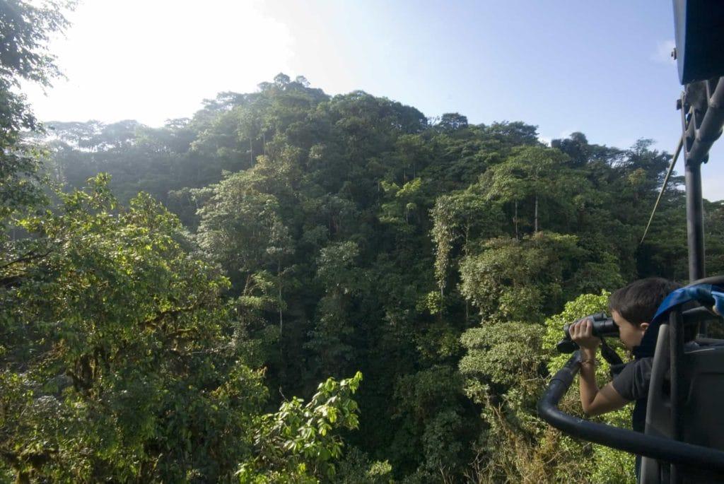Enfant avec jumelles sur Sky Bike au dessus de la foret amazonienne