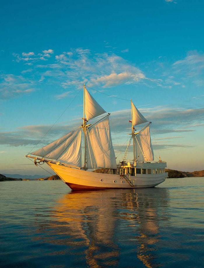 Goelette blanche sur l'océan ou partir en voyage cette année