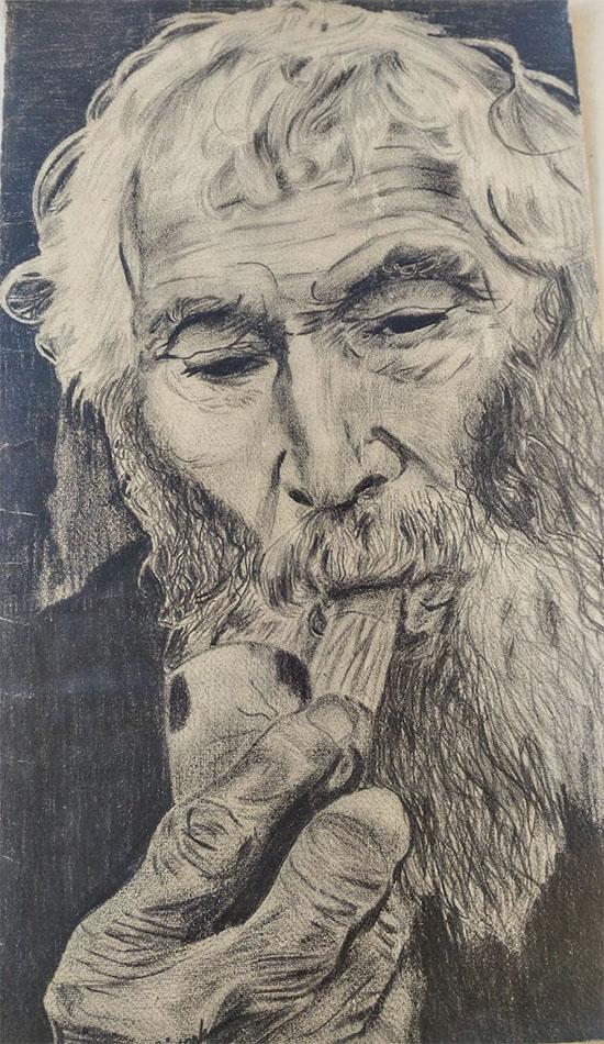 Vieille homme au crayon